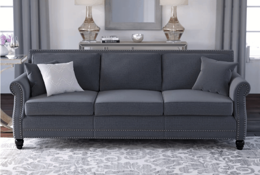 Dark gray elegant sofa with narrow arms, deep seat and short wood legs