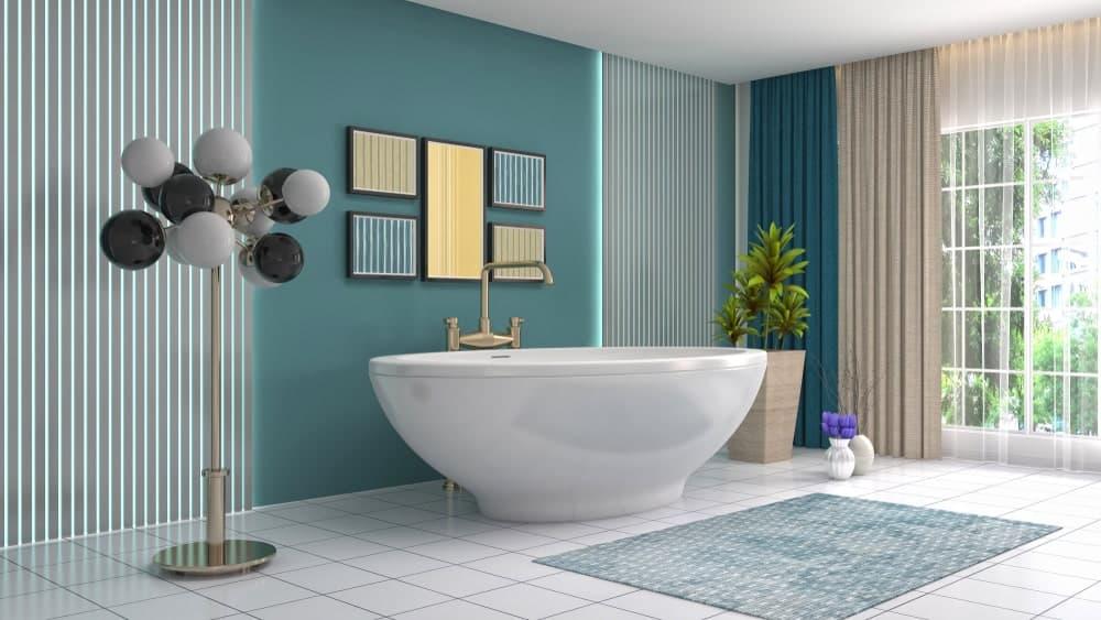 Bathroom with wall art