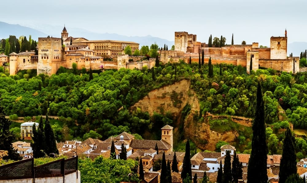 A stunning view of the Alhambra complex in Granada, Spain.
