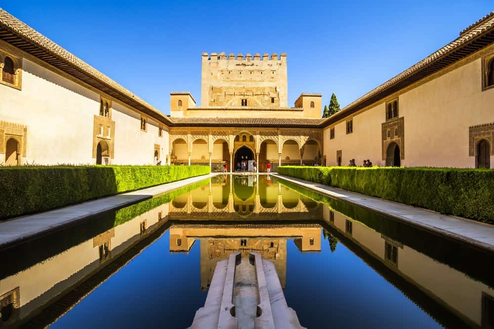 A beautiful view of Courtyard of the Myrtles or Patio de los Arrayanes in La Alhambra, Granada, Spain.