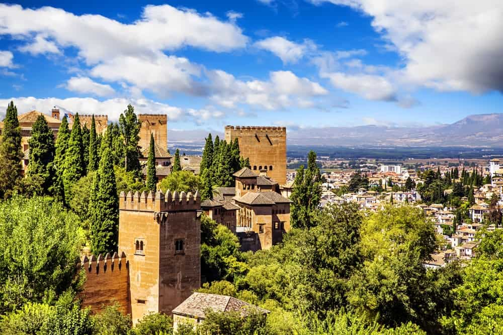 Ancient Arabic fortress overlooking the provincial city of Granada, Spain.