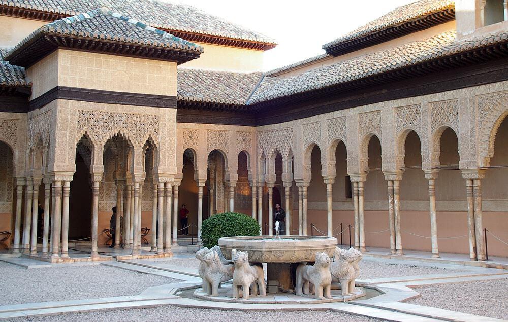 Famous Lion Fountain, Alhambra Castle in Granada, Spain.