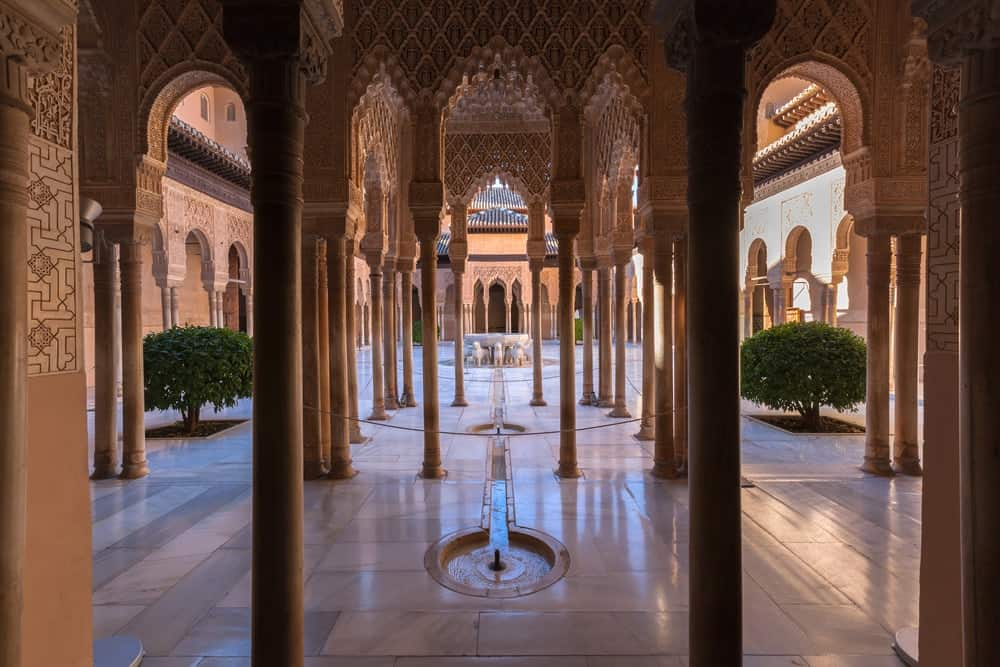 A large hall inside one of the palaces in the Alhambra complex.