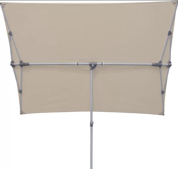 A flat and rectangular-shaped patio umbrella.
