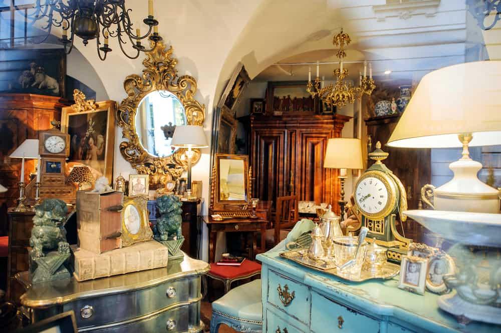 Inside an antique store.