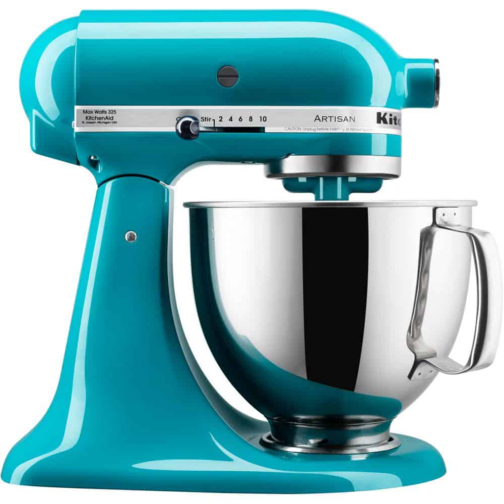Aqua blue mixer with a handle on its stainless steel bowl.