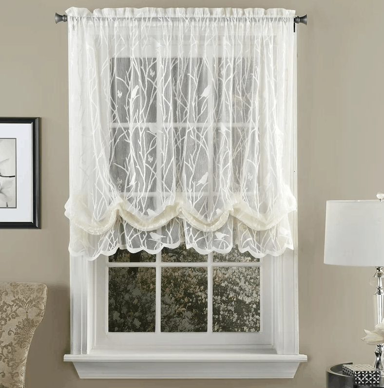This balloon window shade offers light filtering privacy and decorative texture for your windows.