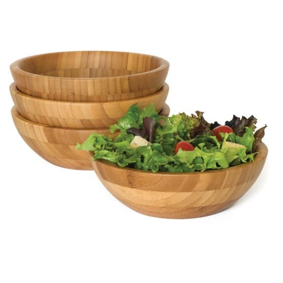 Lipper bamboo small salad bowls is a four-piece salad bowl set made of durable bamboo.