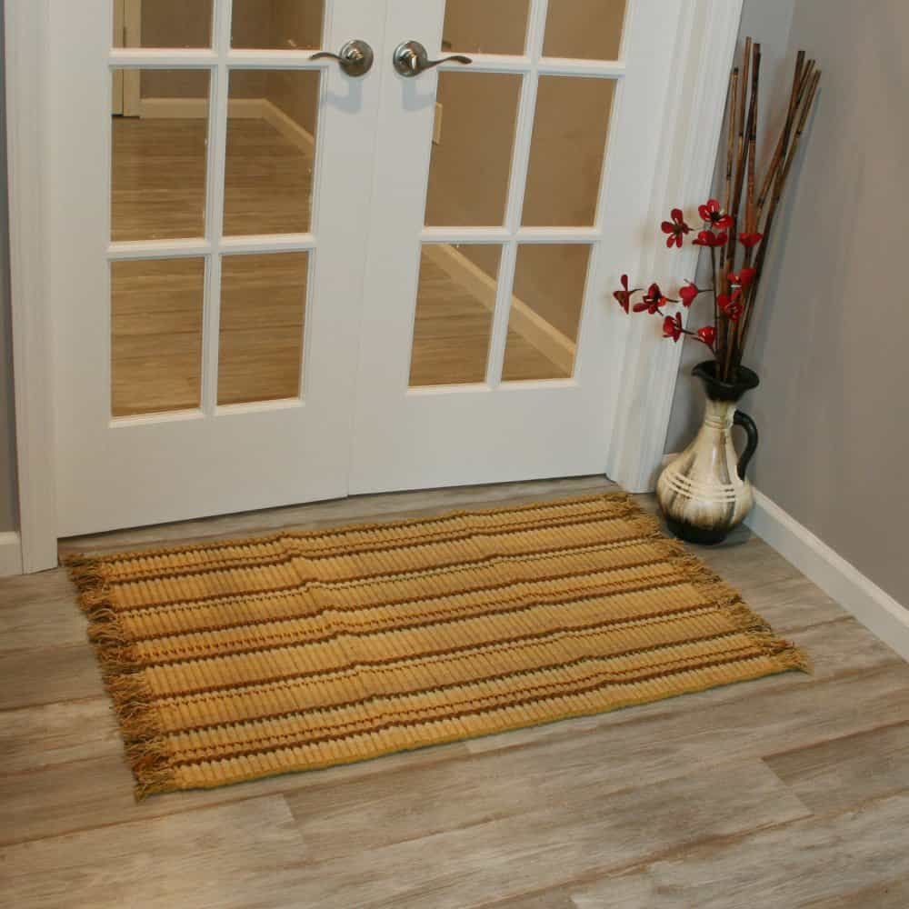 Ribbed bamboo doormats are eco-friendly.