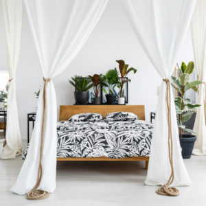 Bedroom with drapes