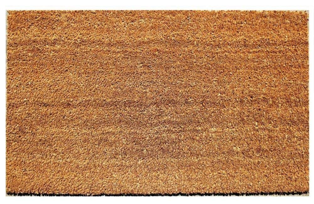 Coir doormat with a rought texture that can somehow act as a shoe scraper.