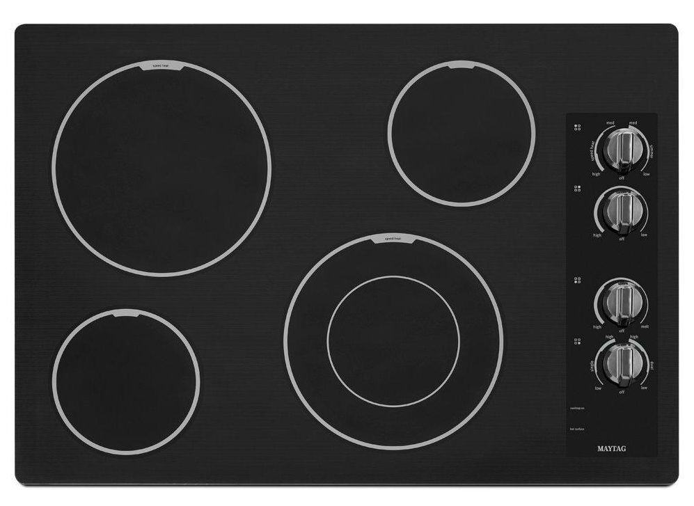 Black, ceramic glass cooktop.