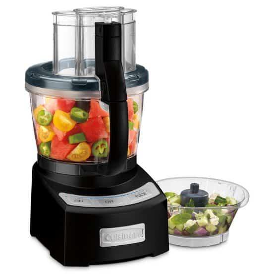 A black, 12-cup food processor.