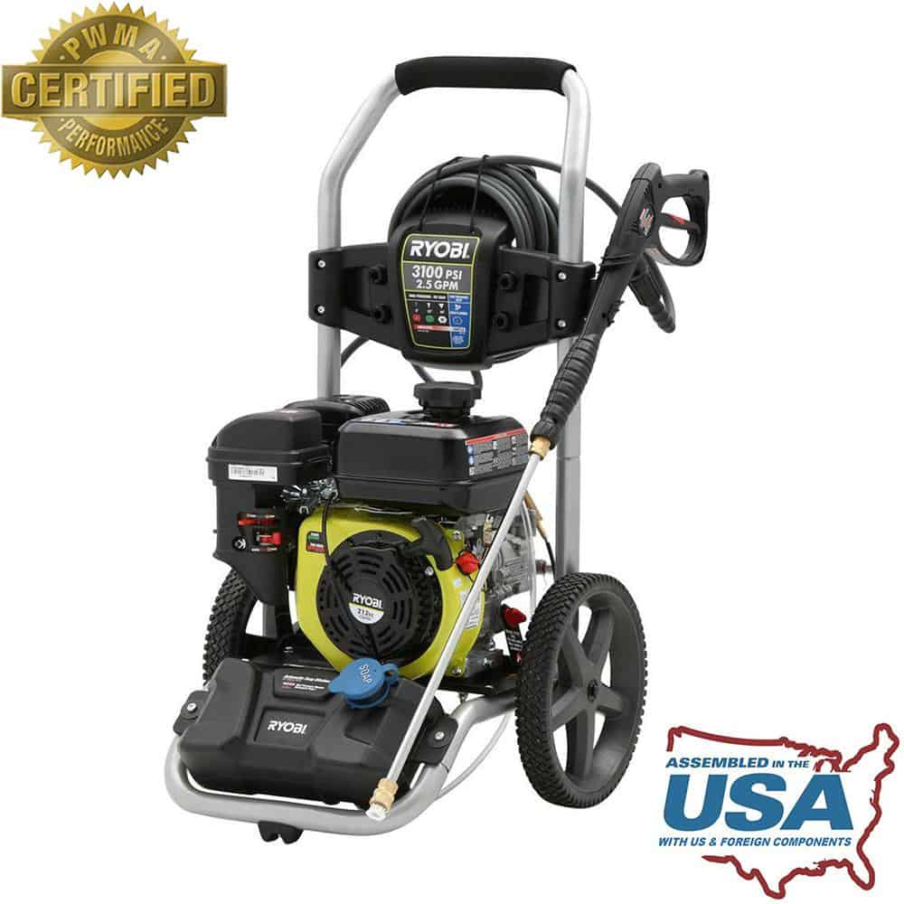 A pressure washer powered by gas.