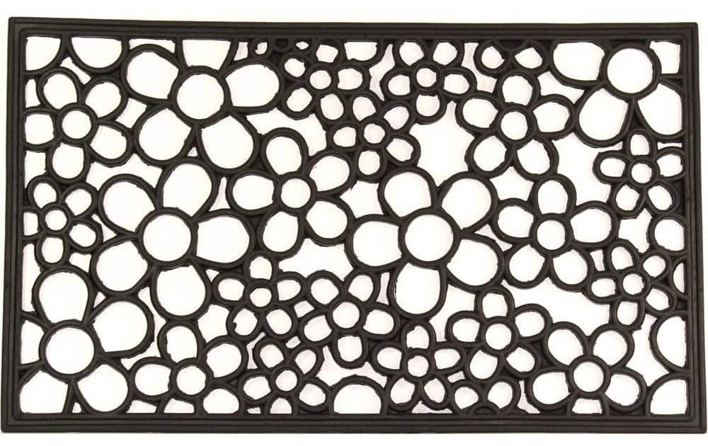 Black, iron doormat with a floral design for indoor and outdoor use.