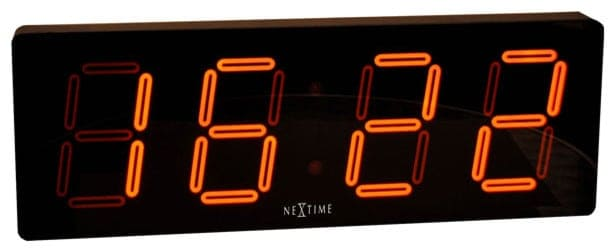 Rectangular, LED clock with alarm.