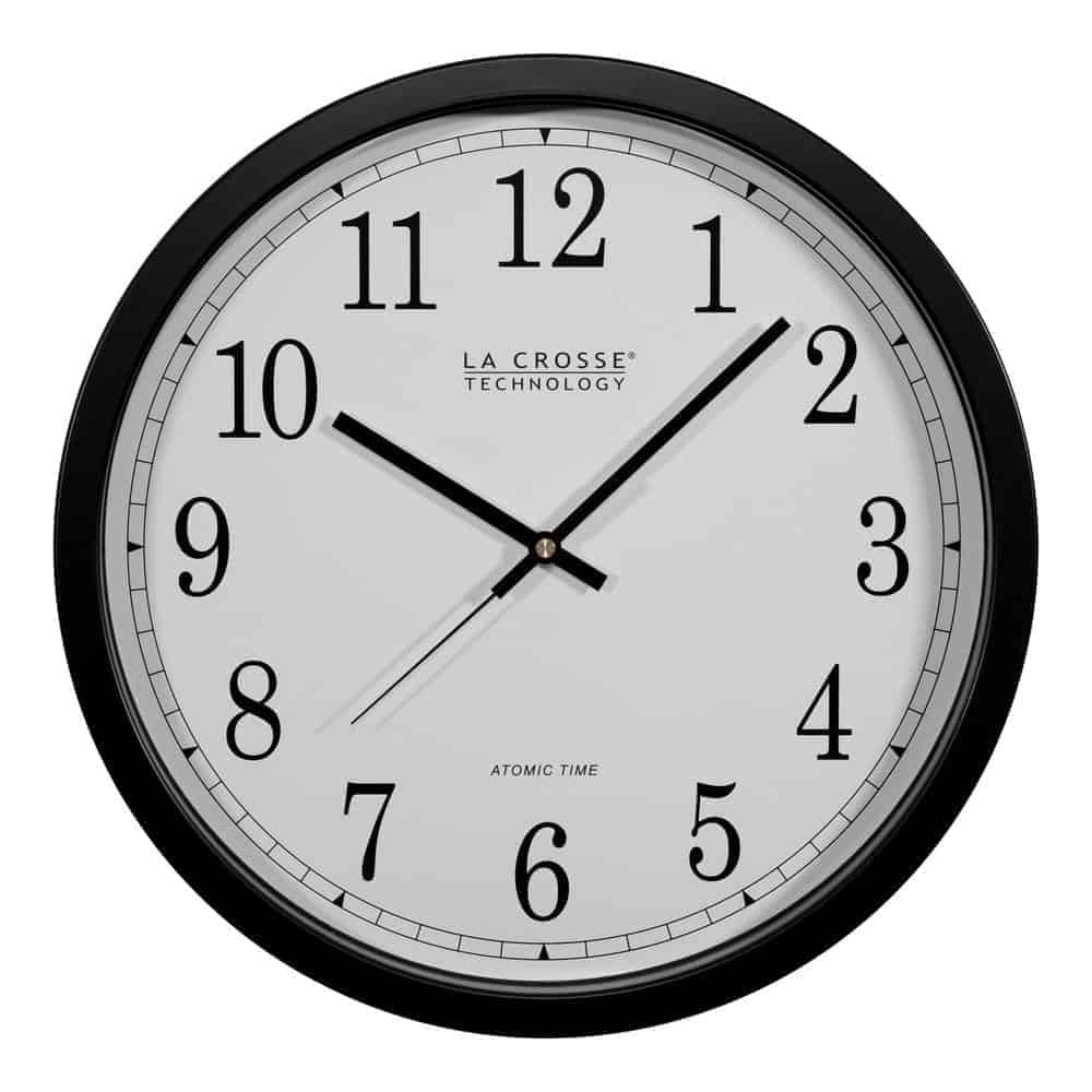 Round, plastic-framed analog clock in black.