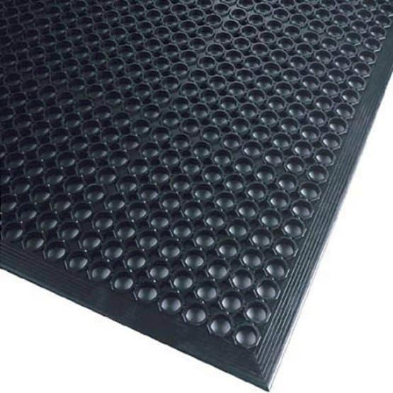 Black rubber mat with a draining feature.