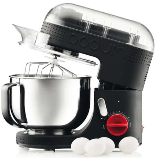 Black baking mixer with stainless steel accents.