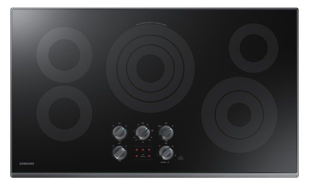 Black stainless and fingerprint resistant cooktop.