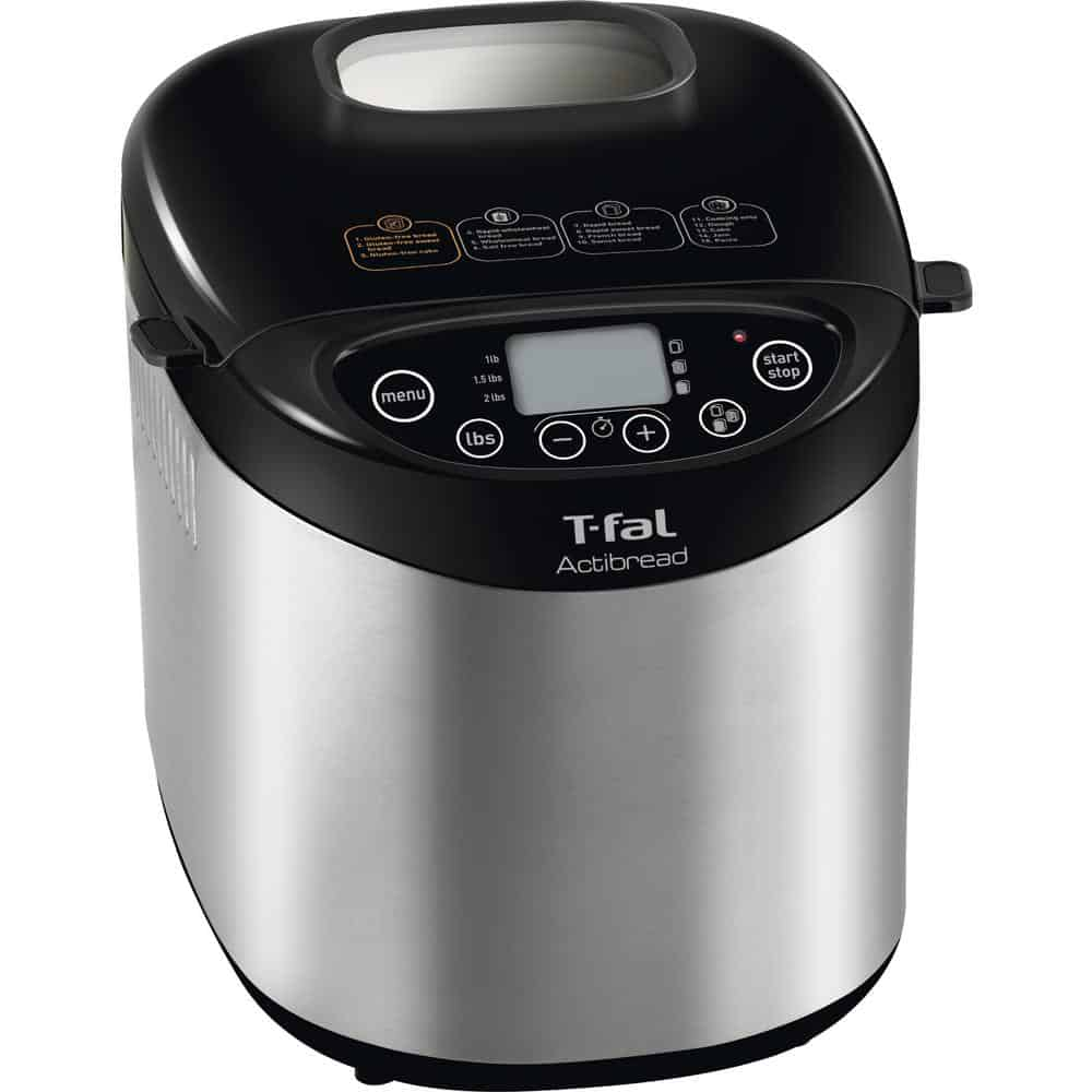Stainless steel bread maker with dishwasher-safe parts.