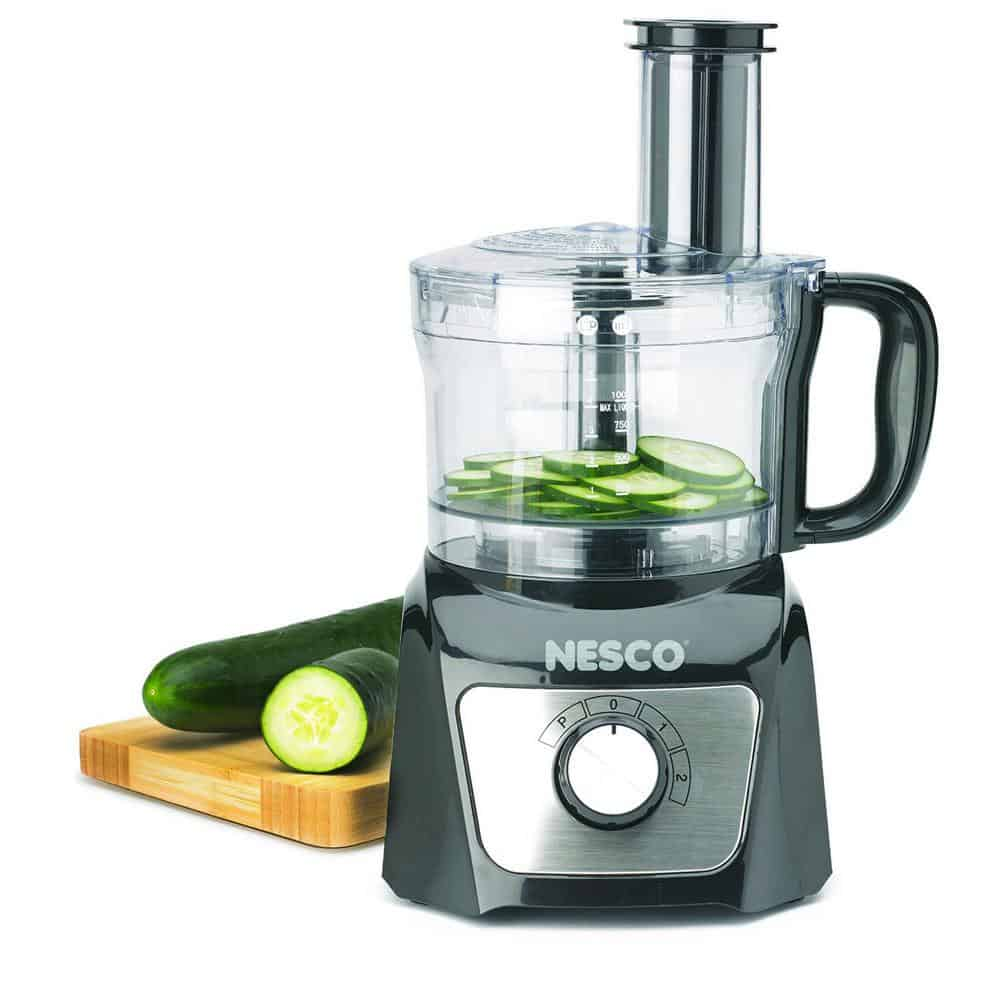 Food processor with measurements on the work bowl.