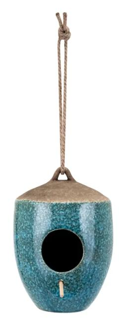 A blue and brown, hanging ceramic birdhouse.