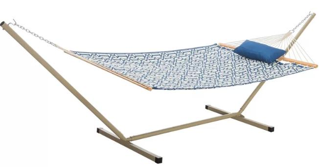 Polyester hammock with blue and white-patterned design.