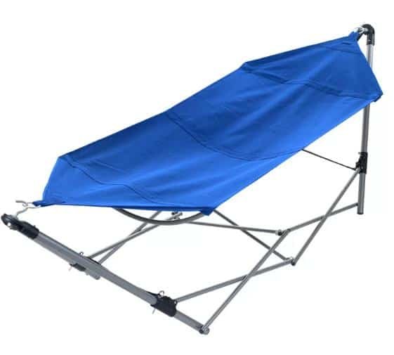 Blue, portable hammock great for camping.