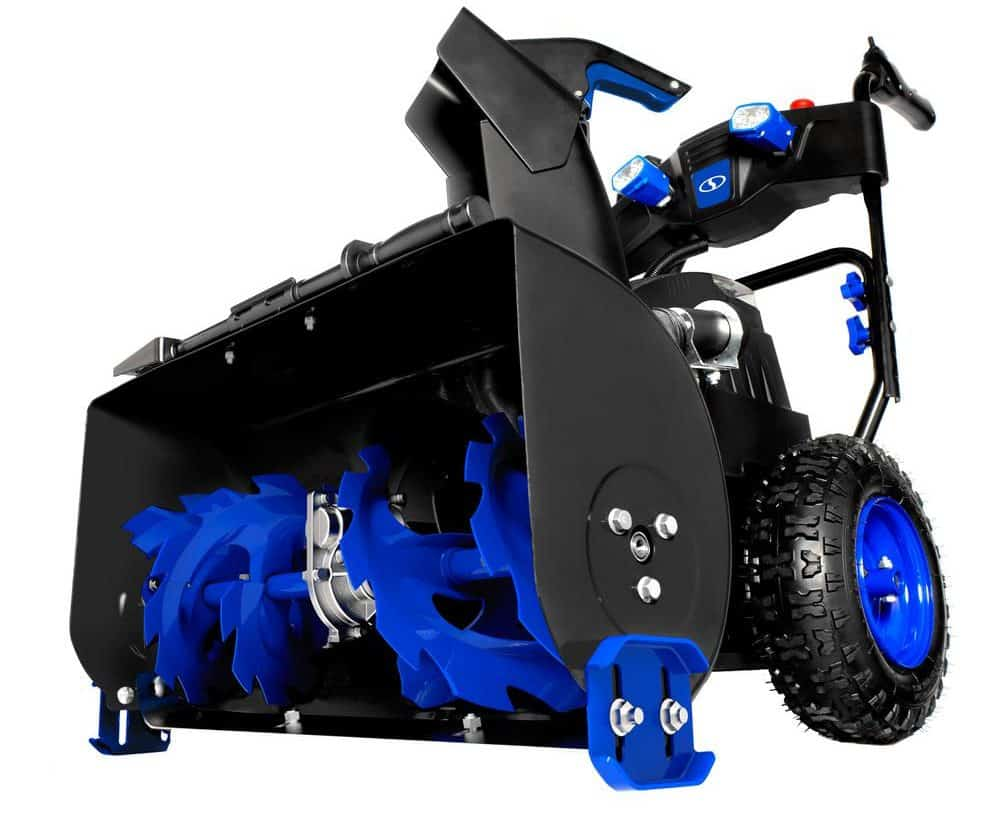 A self-propelled snow blower.