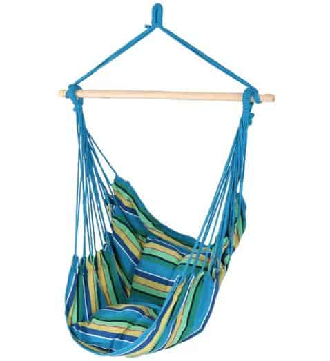 Swing hammock with blue, green and yellow stripes.