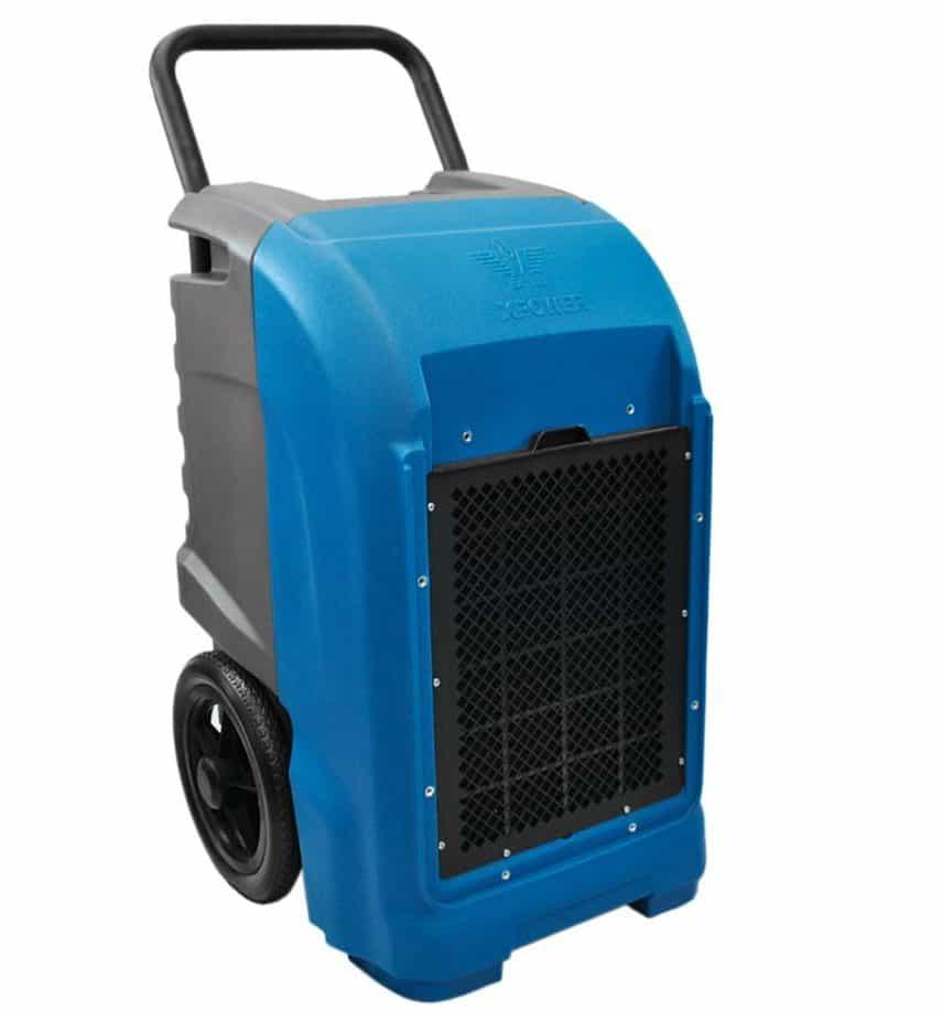 Blue dehumidifier with wheels.
