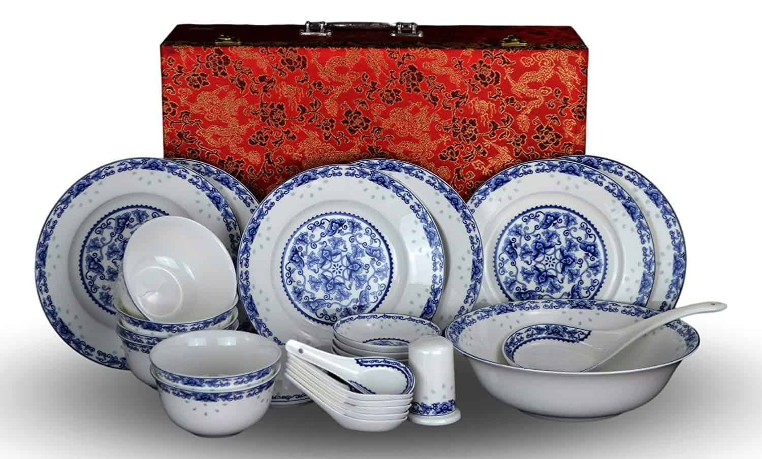 The premium set comes with 28 pieces of bone china dinnerware, shinning like jade, with elegant touch of tradition.