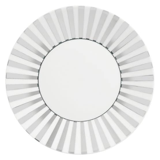 Wedgwood Jasper Conran Platinum bone china striped salad plate with a glimmer of platinum around the rim.