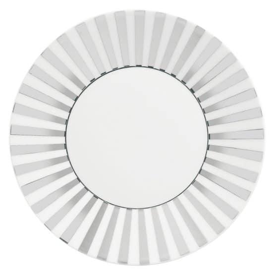 Wedgwood Jasper Conran Platinum bone china striped salad plate with a glimmer of platinum around the rim.
