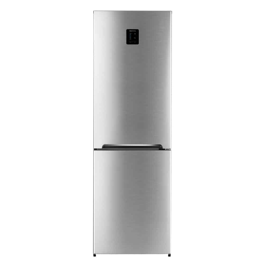 Front view of stainless steel double door bottom mount refrigerator.