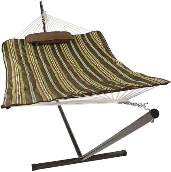 Cotton hammock with brown and olive green stripes.