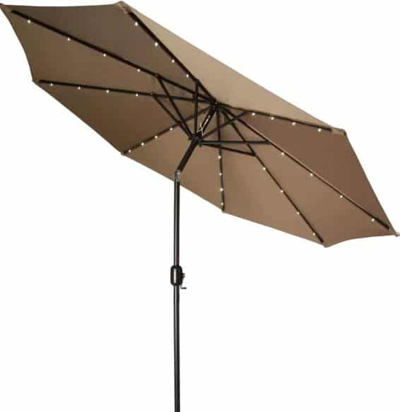 Brown patio umbrella with LED lights.