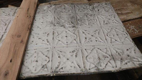 Antique pressed ceiling kitchen backsplash.