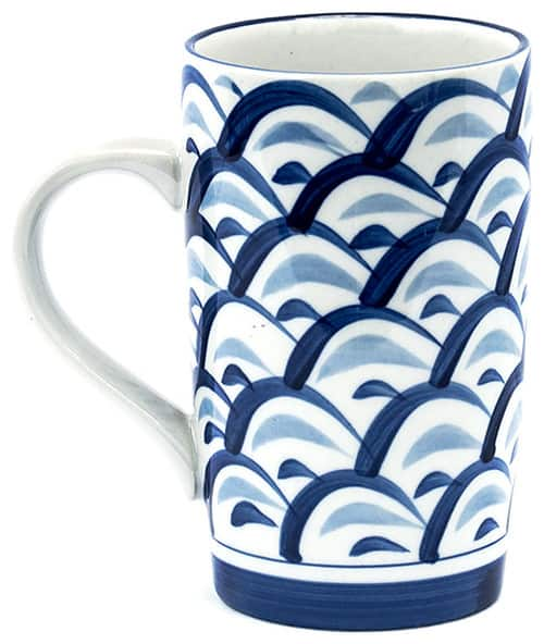 Asian wave ceramic coffee mug.