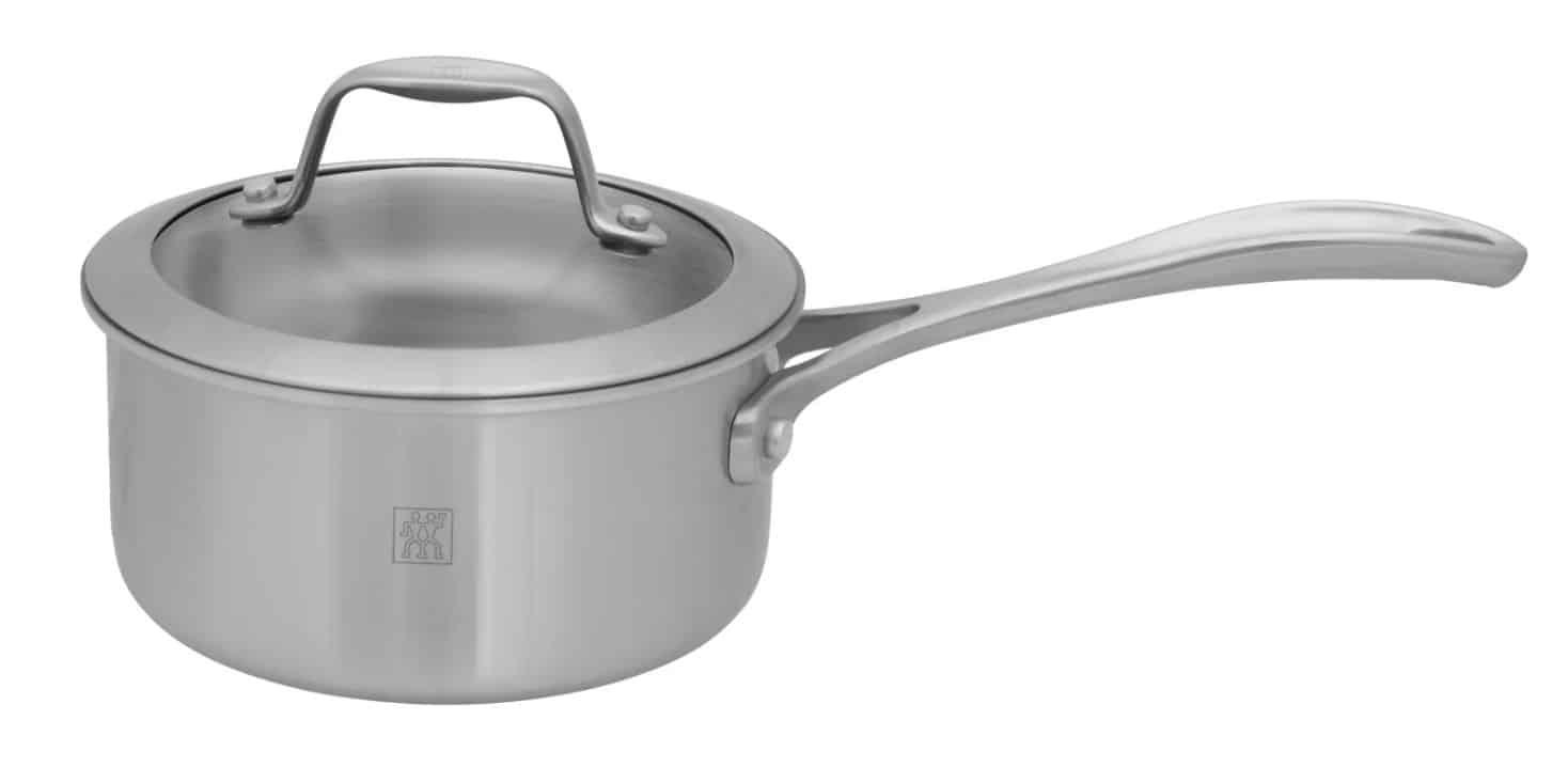 Zwilling JA Henckels' Spirit stainless steel ceramic sauce pan with lid.