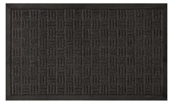 Charcoal-colored carpet mat with a loop texture.