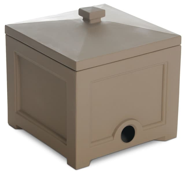 Clay-colored garden hose bin with lid.