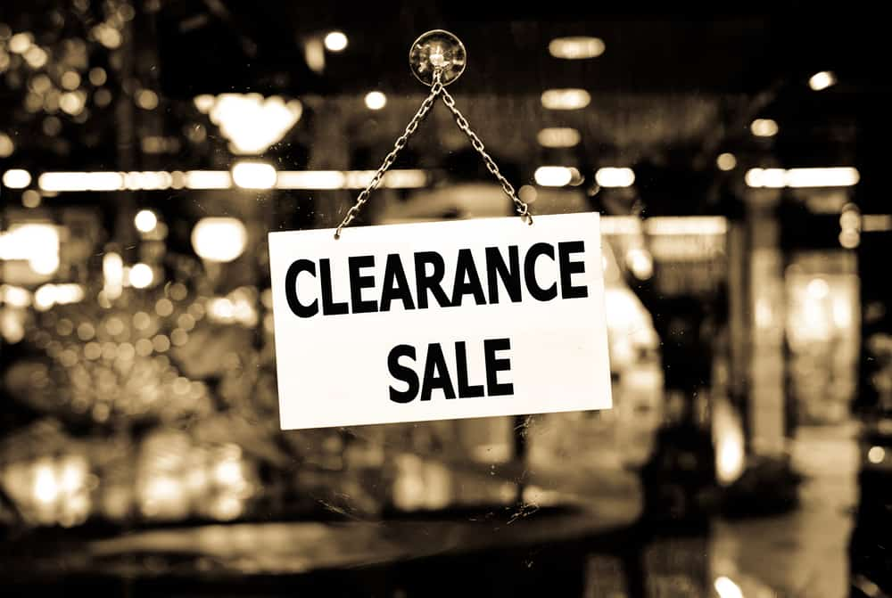 Clearance sale sign posted.