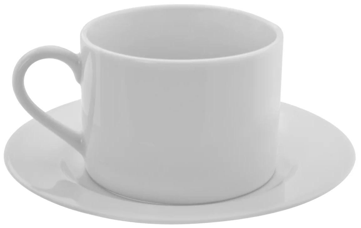 Coffee mug with saucer.