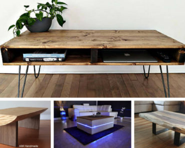Collection of handmade coffee tables on Etsy
