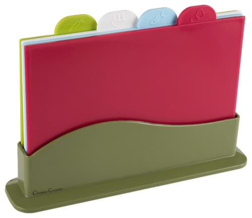 A set of color-coded cutting boards.