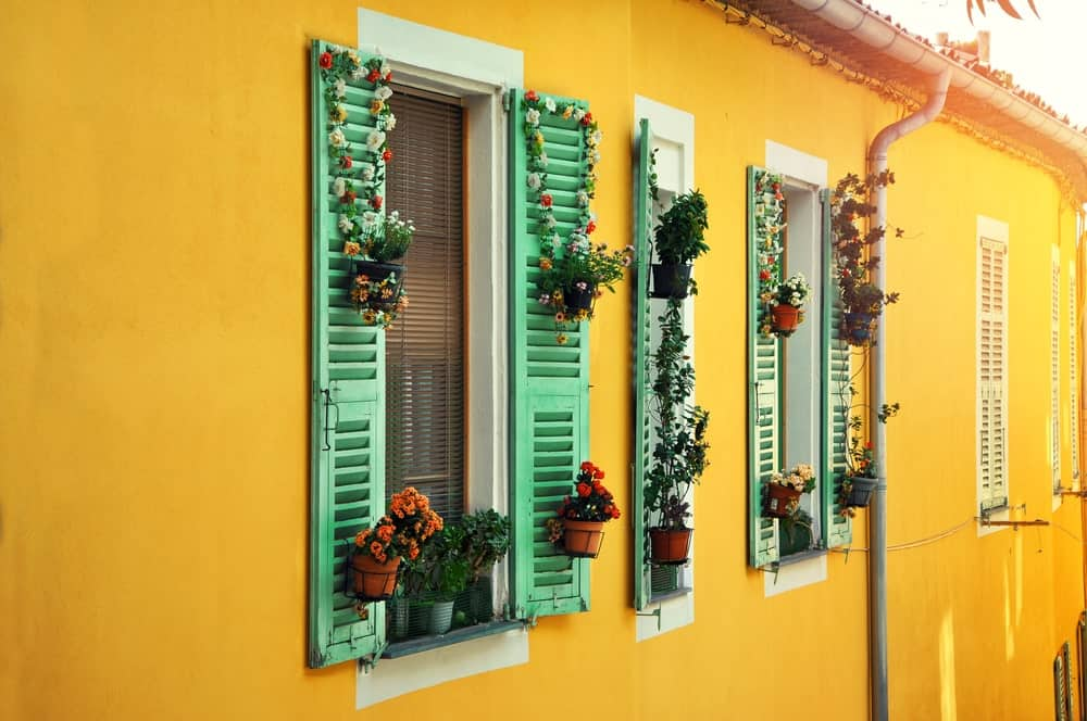 House exterior with yellow walls and flower pots on green window shutters.