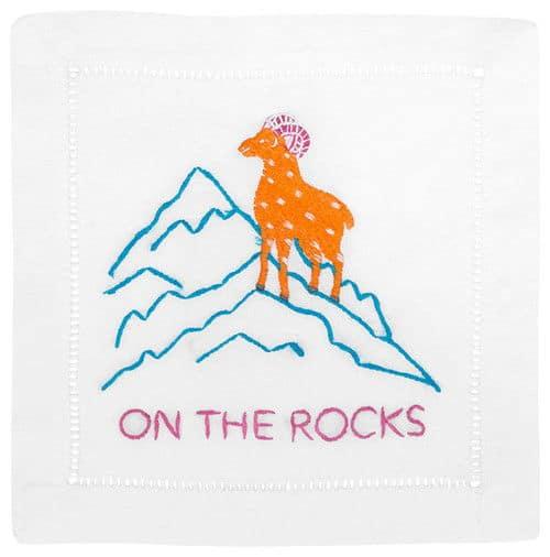 Contemporary embroidered napkin.