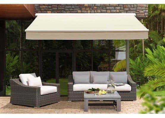 A retractable awning in cream with a steel construction.